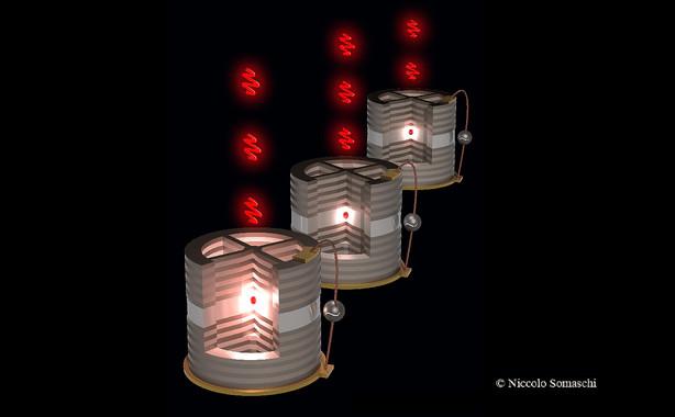 Ilustración de tres nanofuentes (puntos rojos en el centro de la cavidad) de donde manan millones de fotones individuales por segundo- Niccolo Somaschi_LPN-CNRS