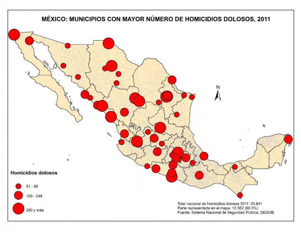 Municipios con mayor numero de homicidios dolosos en 2011