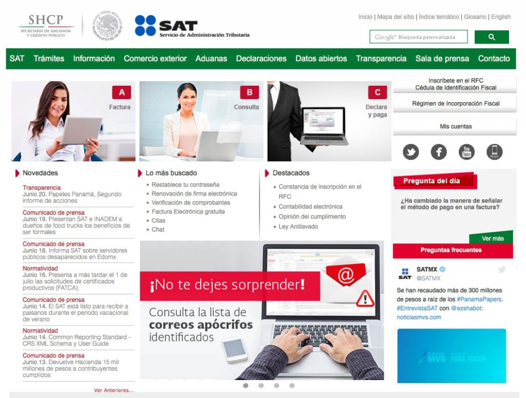 Página web del SAT