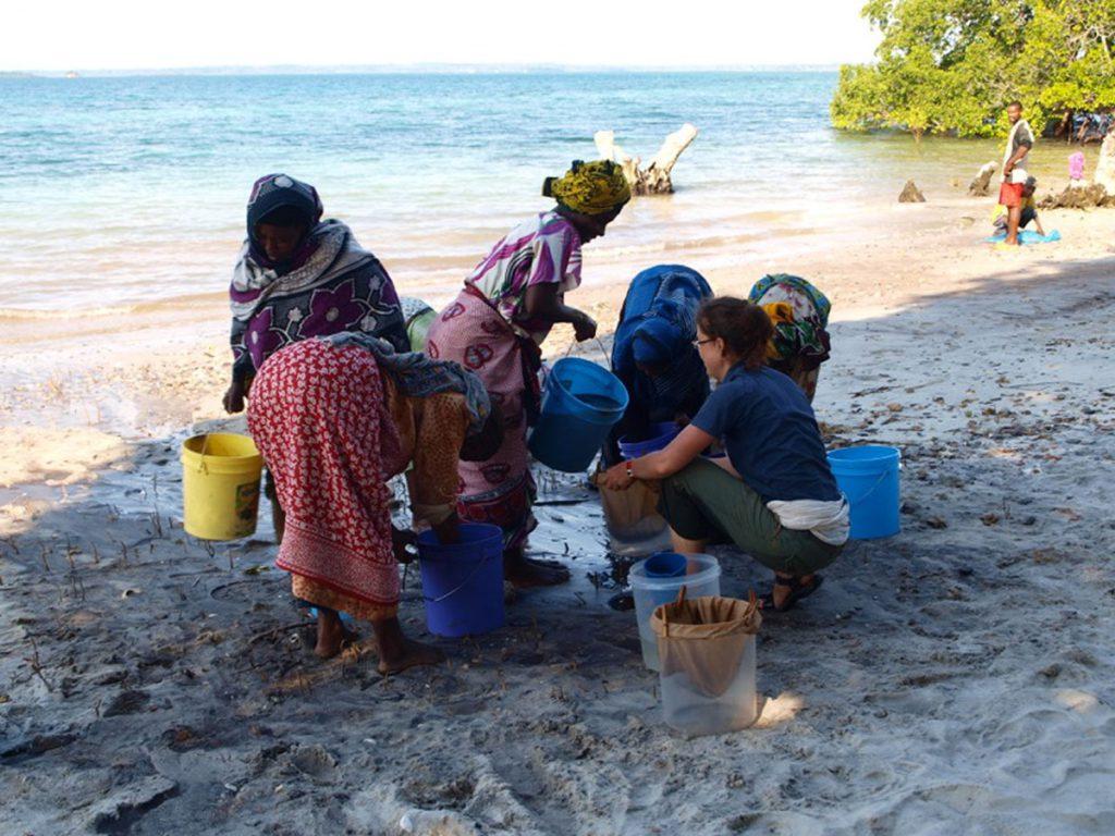 Alison Crowther procesando sedimentos arqueológicos para recuperar los restos de plantas en Pemba, África oriental. / Mark Horton, Universidad de Bristol, Reino Unido