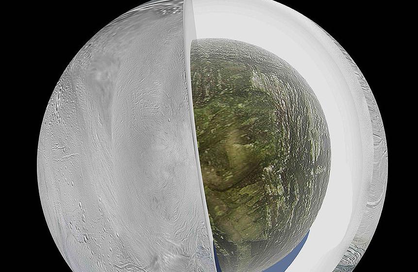 Encélado, luna de Saturno. Imagen: UN.
