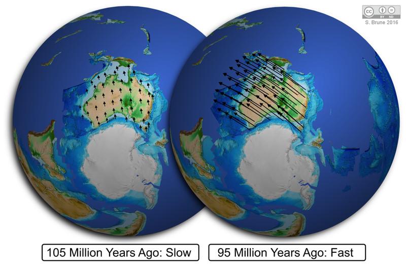 Así (de rápido) se separan los continentes