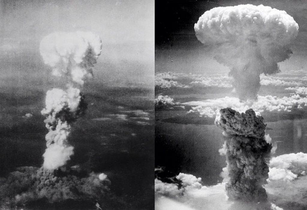 Nubes de hongo sobre Hiroshima (izquierda) y Nagasaki (derecha) tras la explosión de las bombas atómicas 'Little Boy' y 'Fat Man' respectivamente. / Wikipedia