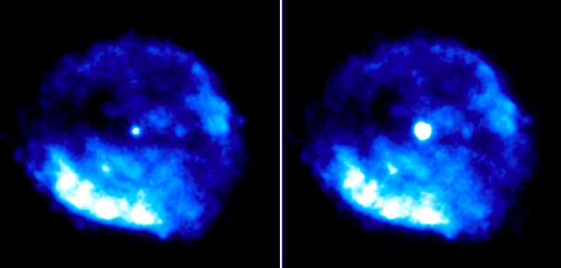 Imágenes en rayos X del remanente de la supernova RCW103, con el magnetar brillante en el centro. Izquierda: datos de observaciones entre 2011-2015. Derecha: datos de la erupción de 2016. / CSIC