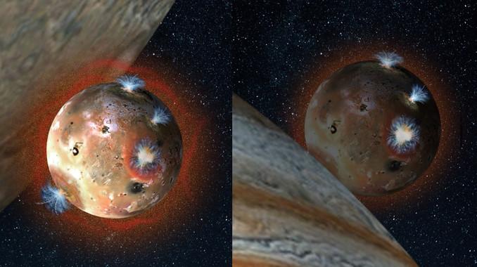Ilustración de la luna Ío con su tenue atmósfera de dióxido de azufre (en tonos anaranjados) antes de comenzar un eclipse de Júpiter, y después, cuando el gas se congela y colapsa sobre la superficie del satélite. / Southwest Research Institute