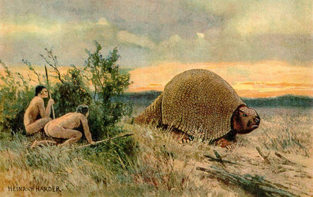 Ilustración que representa a dos pobladores antiguos de América con un glyptodon. / Wikipedia