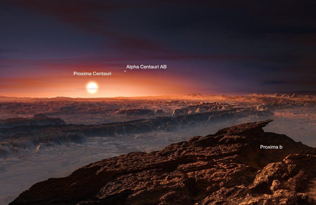Ilustración de la superficie del planeta Próxima b orbitando a la estrella enana roja Próxima Centauri, la estrella más cercana al Sistema Solar- ESO/M. Kornmesser