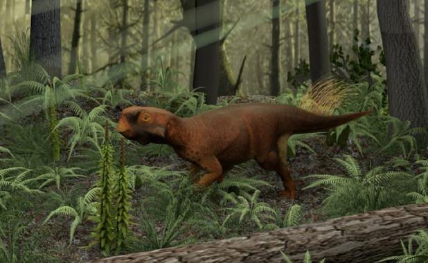 Reconstrucción del Psittacosaurio que vivía en bosques con vegetación densa. / Jakob Vinther et al.