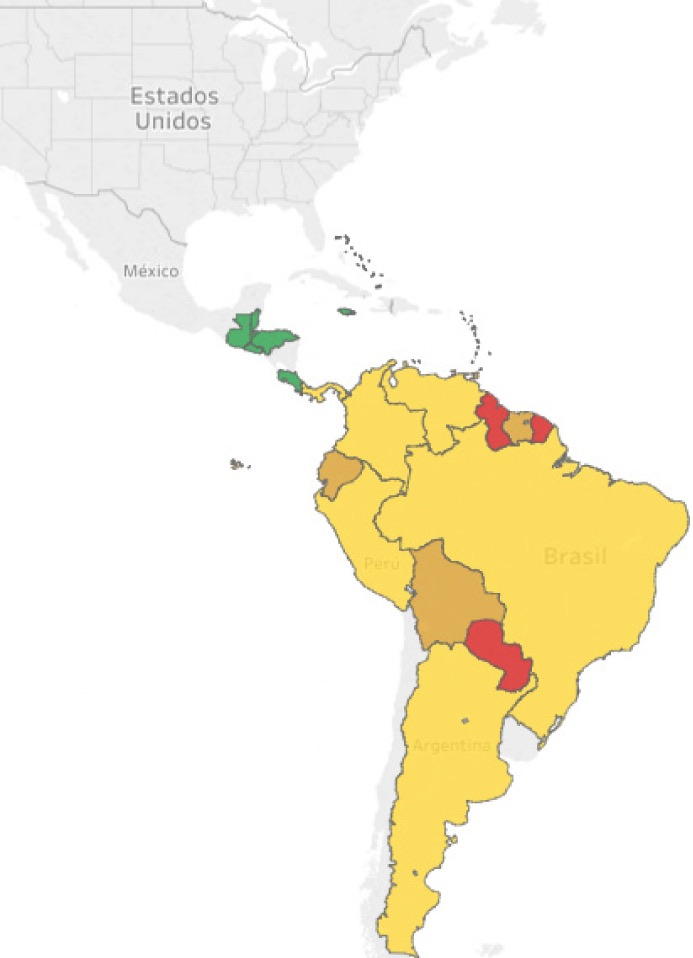 Mapa de incidencia de fiebre amarilla en América, amarillo y rojo