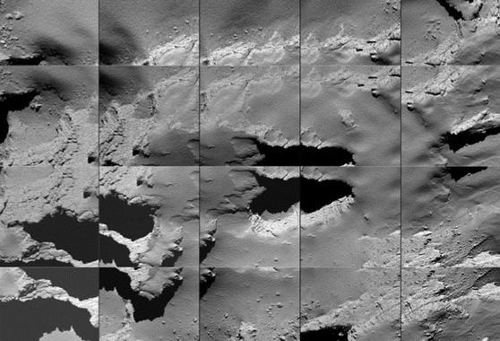 Secuencia de imágenes captadas por Rosetta durante su descenso a la superficie del cometa 67P este 30 de septiembre. / ESA/OSIRIS Team et al.