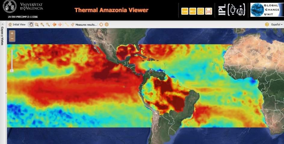 Vista de las temperaturas provocadas por El Niño 2016