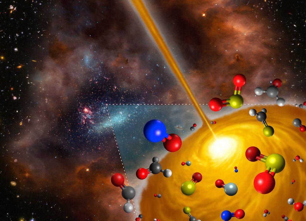 lustración del nucleo molecular caliente descubierto en la Gran Nube de Magallanes- FRIS/Tohoku University