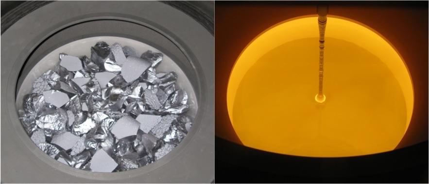 Aspecto del silicio antes y después de fundirlo (imagen tomada en el interior de un reactor Czochralski)- IES-UPM