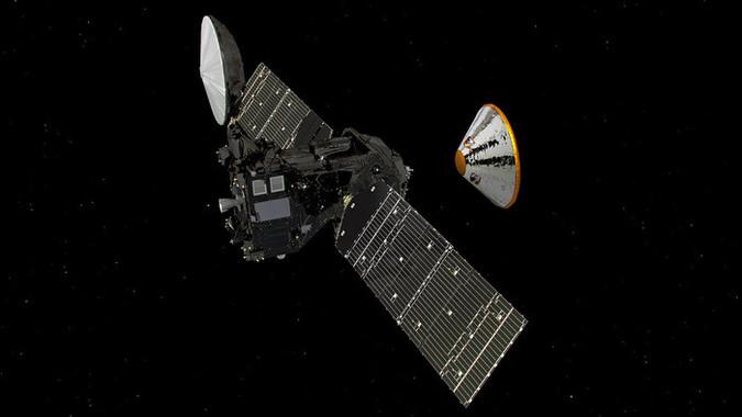 El módulo Schiaparelli (a la derecha) ya se ha separado este domingo del satélite TGO (a la izquierda) para preparar su 'amartizaje' el próximo 19 de octubre. / ESA/ATG medialab