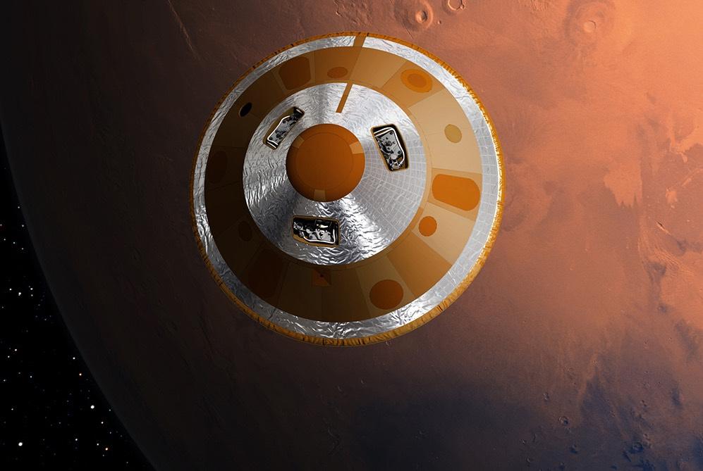 El módulo Schiaprelli en descenso hacia Marte- ESA, D. Ducros