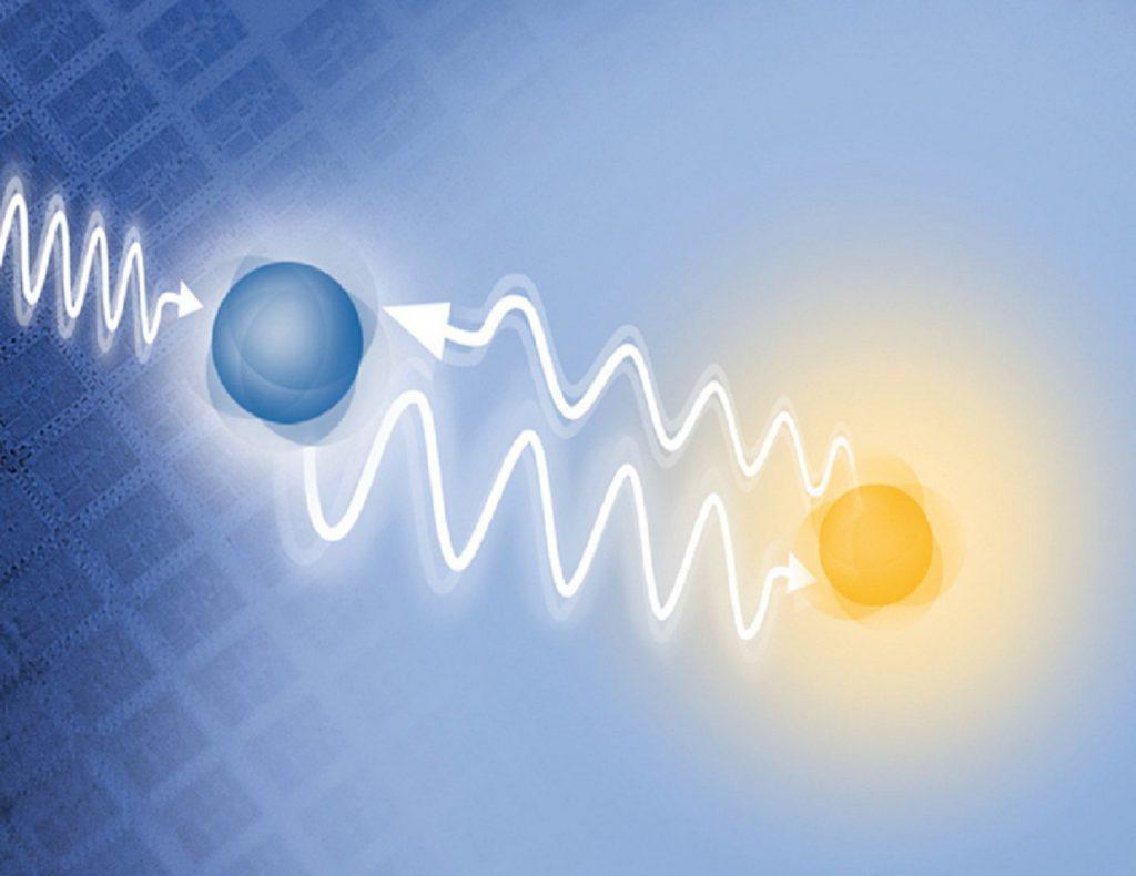 Partículas subatómicas relacionandose a distancia