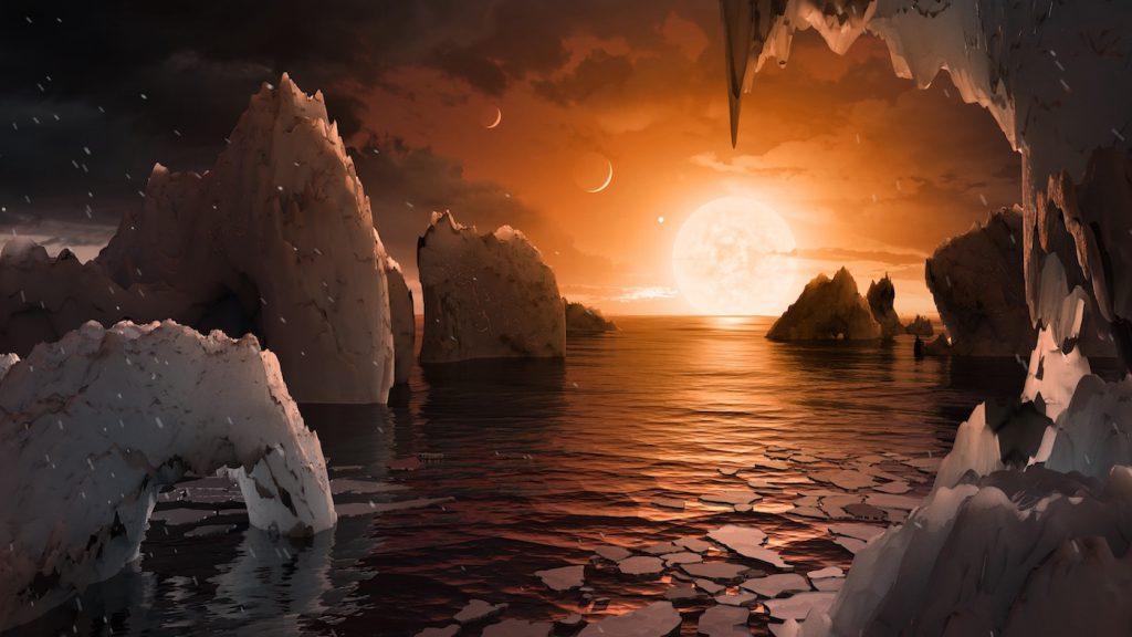 La posible superficie de TRAPPIST-1f, uno de los planetas descubiertos en el sistema TRAPPIST-1, de tamaño similar a la Tierra