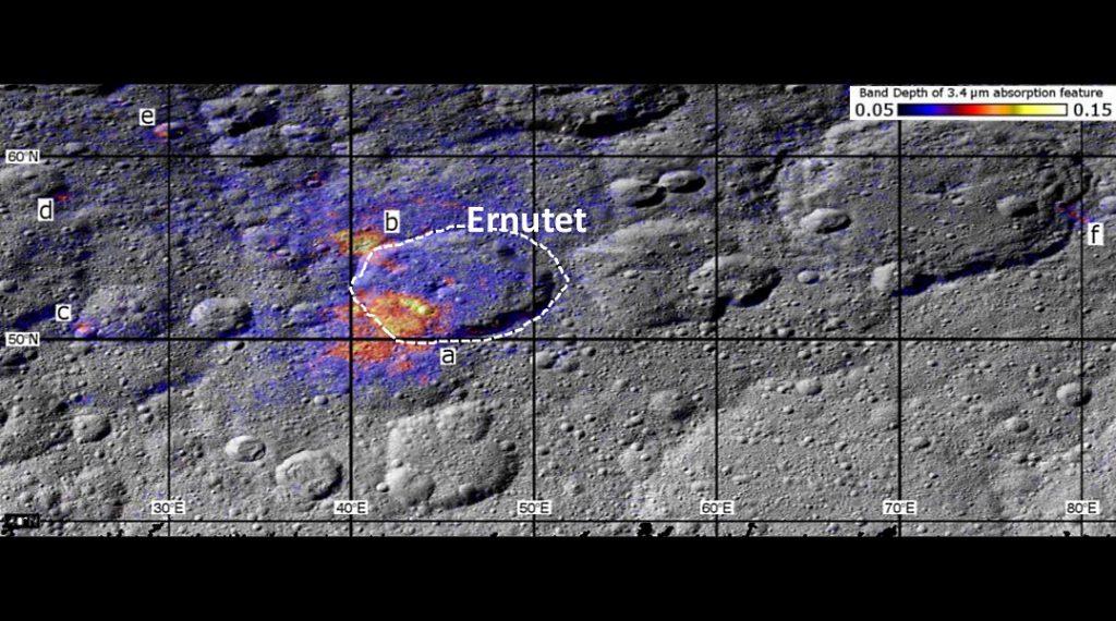 Los puntos donde se encontró material orgánico en Ceres- NASA/JPL-Caltech/UCLA/ASI/INAF/MPS/DLR/IDA