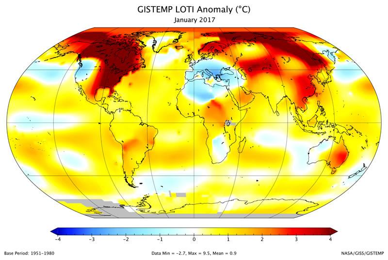 Mapa de la temperatura global del planeta en Enero de 2017- NASA/GISS/GISTEMP