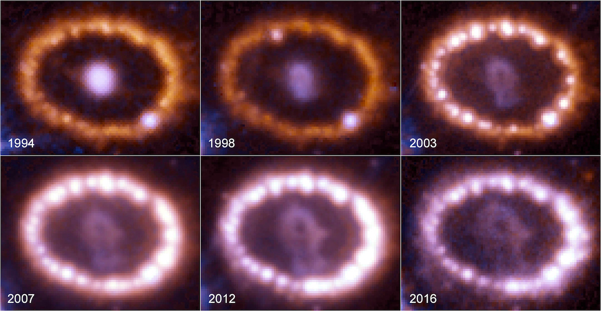 La evolución de los remanentes de la supernova SN 1987A- NASA, ESA and R Kirshner