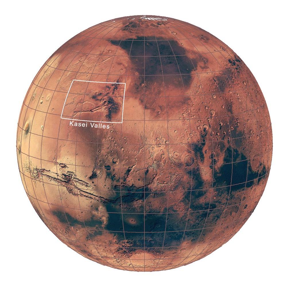Marte, ubicación de Kasei Valles