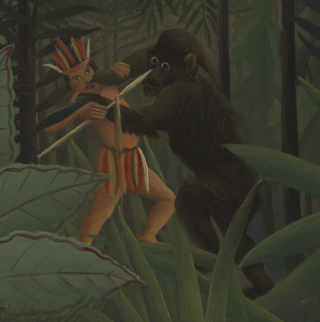 Paisaje tropical con un gorila atacando a un indio, Henri Rousseau, 1910- Virginia Museum of Fine Arts, Richmond, fragmento