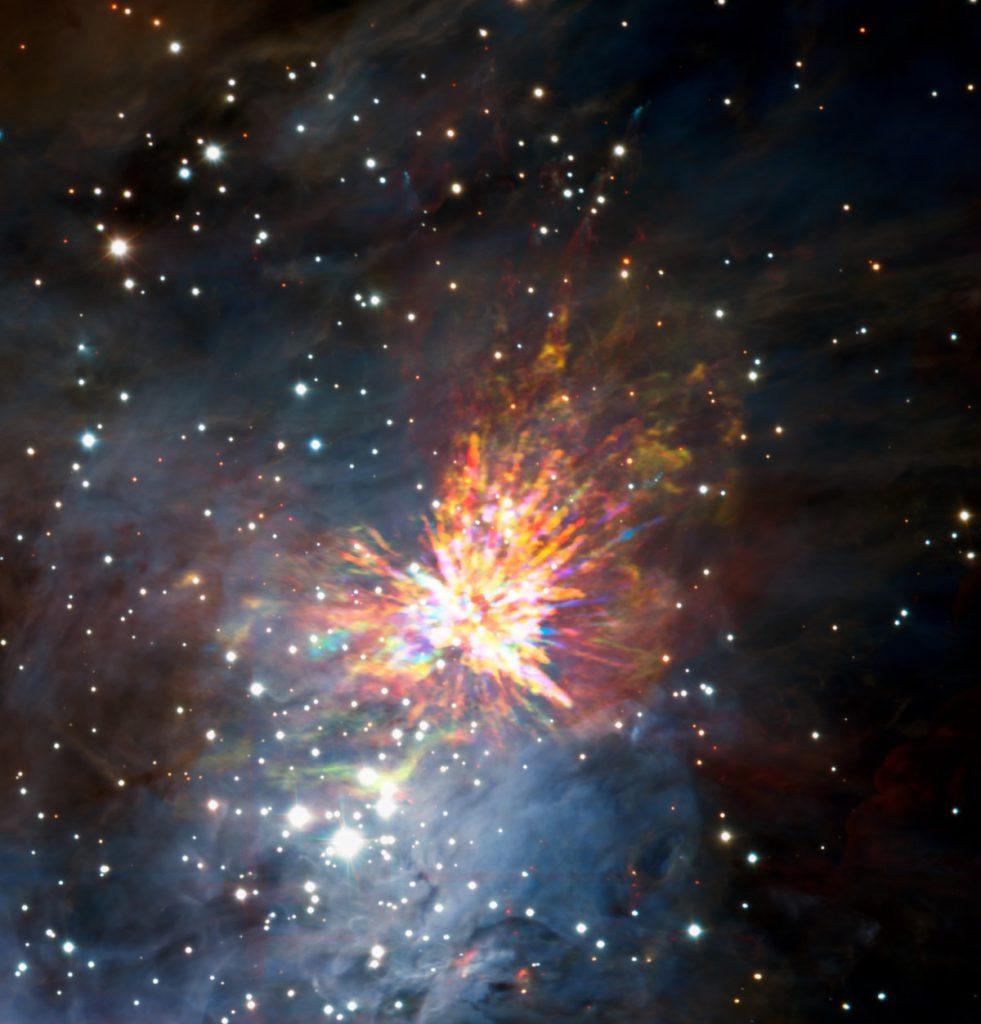 El explosivo nacimiento de una estrella- ALMA (ESO/NAOJ/NRAO), J. Bally/H. Drass et al.