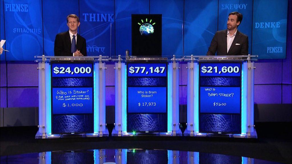 Watson la supercomputdora, ganando en un concurso de respuestas, tipo Jeopardy, a dos humanos campeones