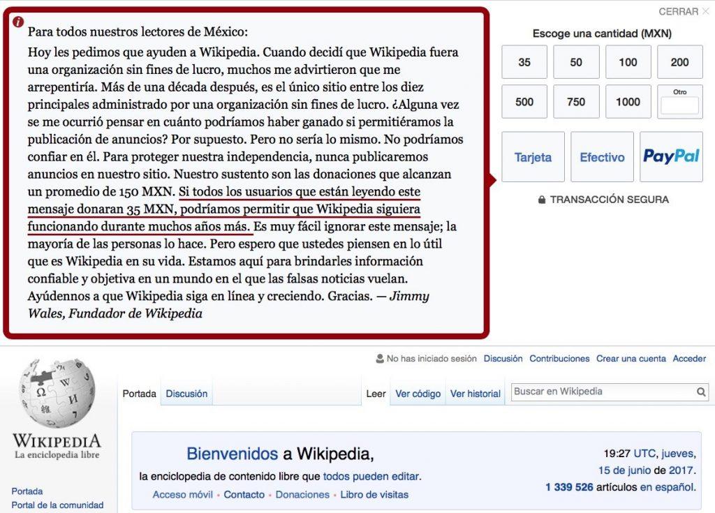 Petición donativos Wikipedia