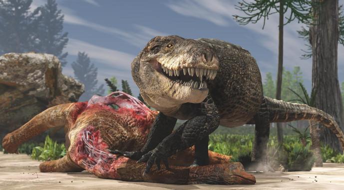 Razanandrongobe sakalavae devorando a otro dinosaurio durante el periodo Jurásico, en Madagascar- Giovanni Bindellini