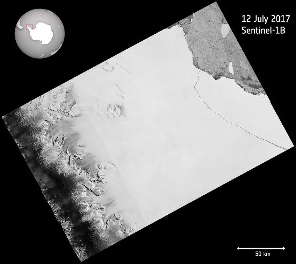 El satélite Sentinel captura el momento de la ruptura del mayor iceberg registrado
