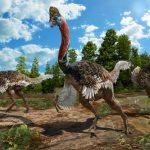 Un dinosaurio con cabeza de casuario y cuerpo de avestruz