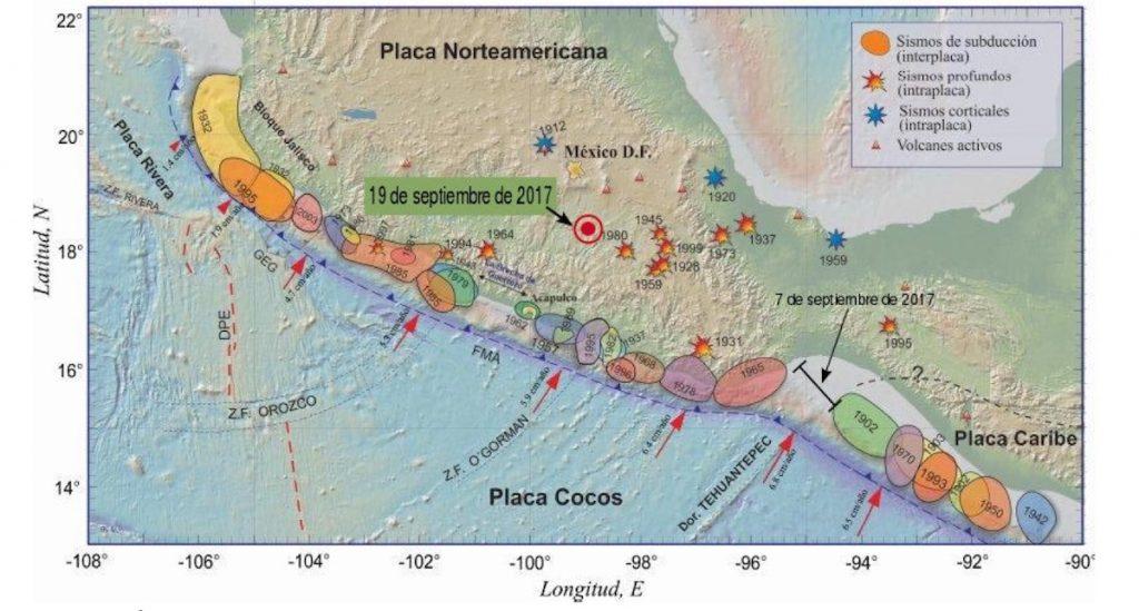Áreas de ruptura de los sismos más importantes que han ocurrido en México