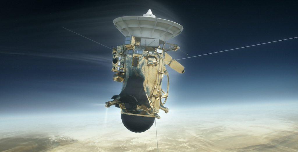 Ilustración de la nave Cassini de la NASA adentrándose el 15 de septiembre de 2017 en la atmósfera de Saturno- NASA, JPL-Caltech