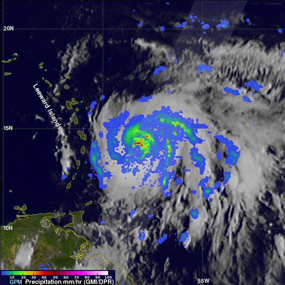 Vista térmica desde satélite del huracán Maráa- NASA, JAXA, Hal Pierce