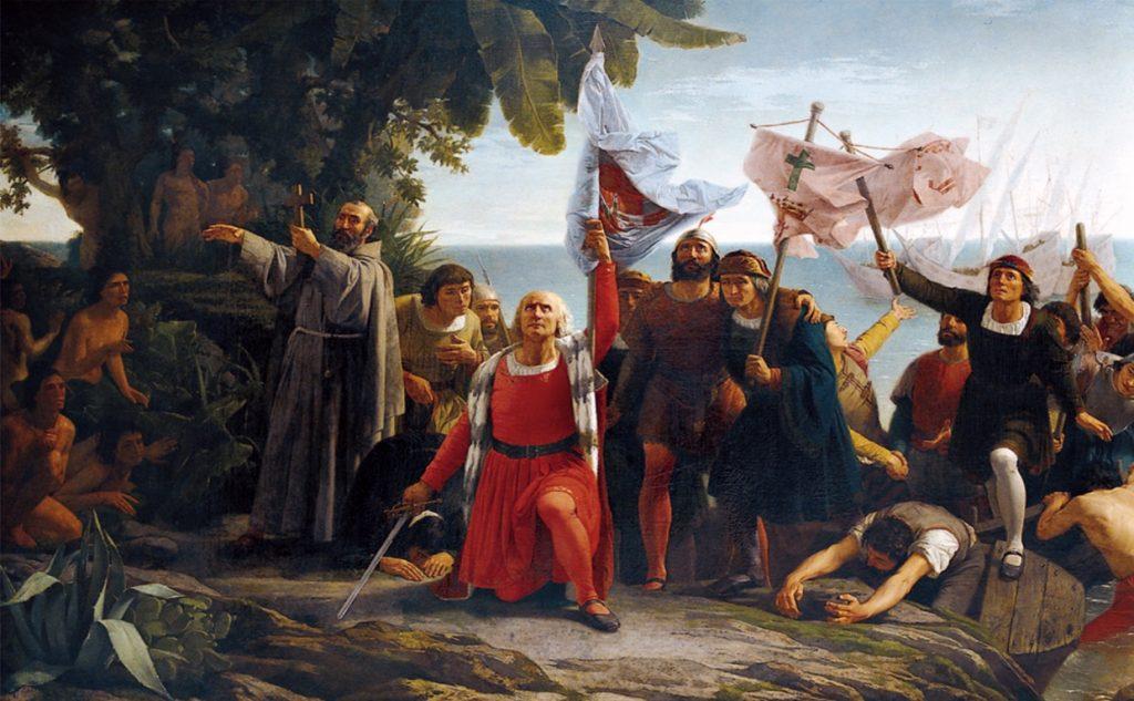 Primer desembarco de Cristóbal Colón en América- Dióscoro Teófilo Puebla Tolín, 1862