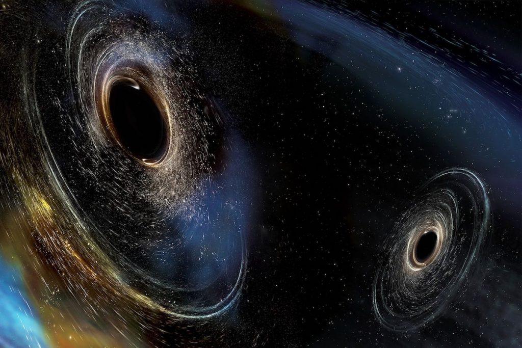 Dos agujeros negros a punto de colisionar- LIGO