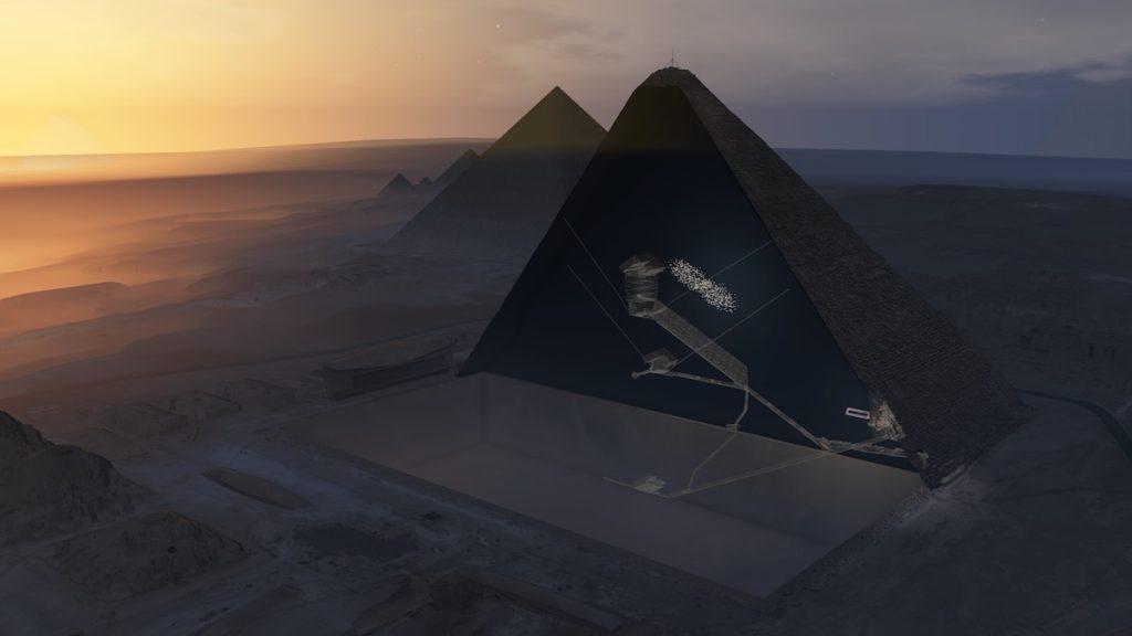 Ilustración donde se muestra (punteado en blanco) la cavidad descubierta, situada encima de la Gran Galería de la pirámide de Keops. / ScanPyramids mission