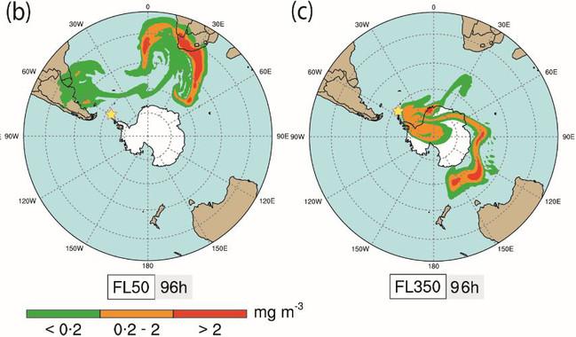 Simulación de recorrido de cenizas de volcanes de la Antártida- BSC-CNS _ ICTJA-CSIC
