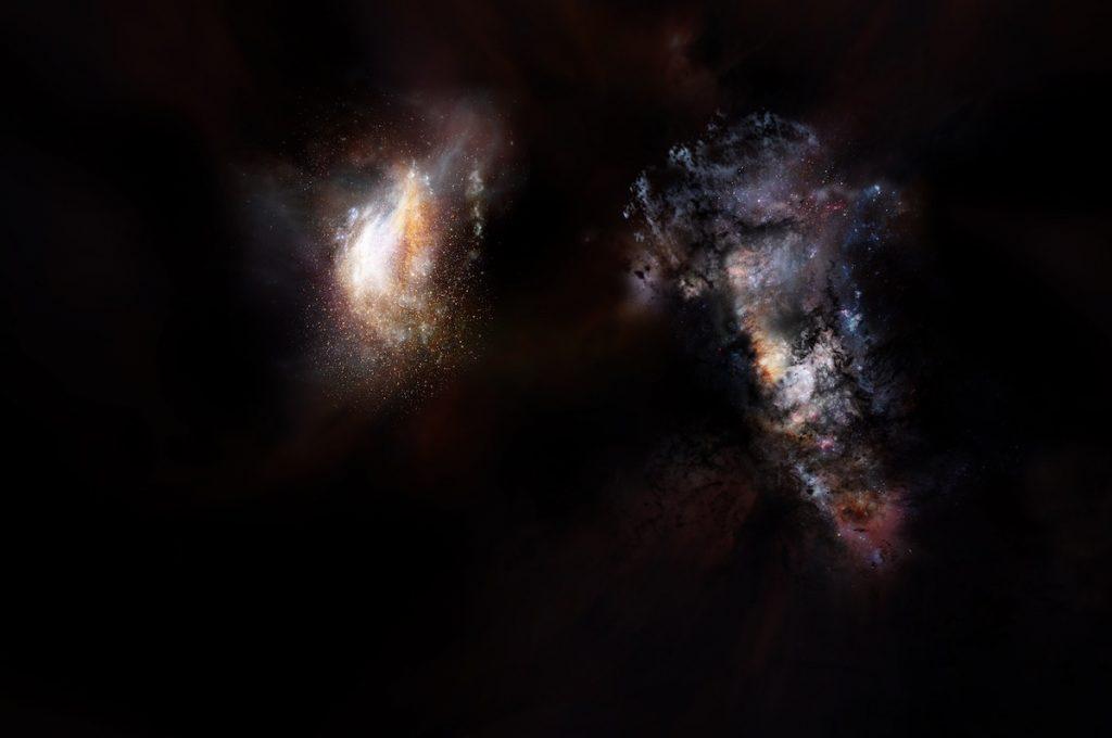 Galaxias en los comienzos del Universo, entre materia oscura- NRAO/AUI/NSF; D. Berry