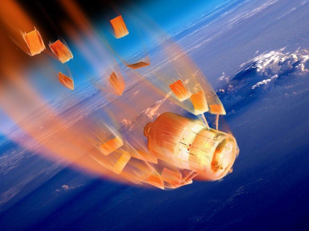 Estación Espacial china Tiangong 1 desintegrándose en su reentrada a la Tierra