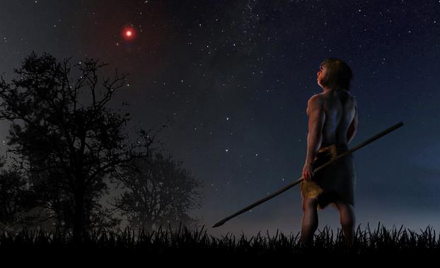 En un momento en el que los humanos modernos comenzaban a salir de África y los neandertales habitaban en nuestro planeta, la estrella de Scholz se acercó a menos de un año luz. / José A. Peñas/SINC