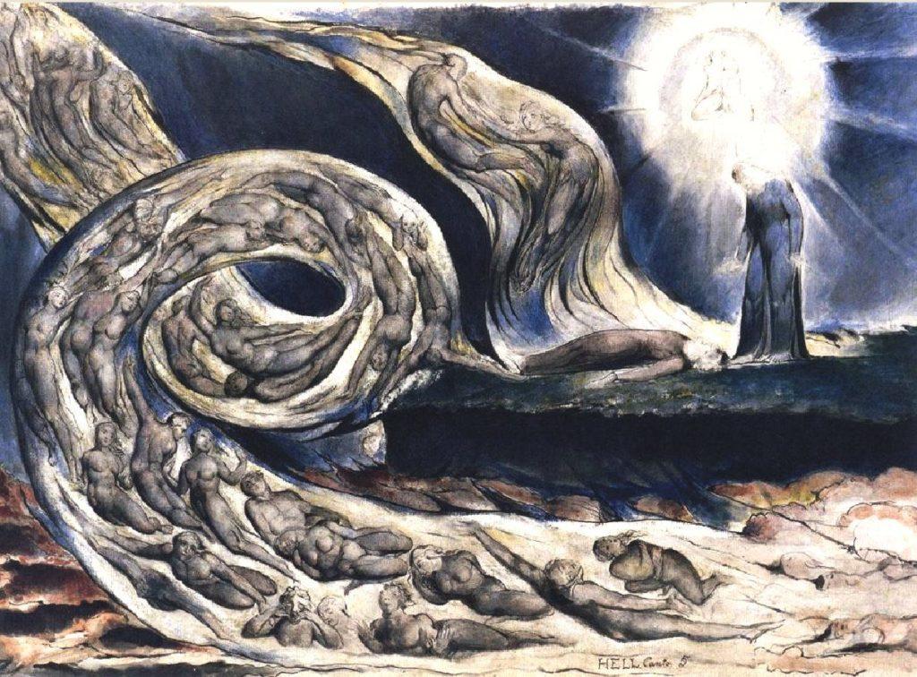 El Torbellino de los amantes- Ilustración de William Blake, a El Infierno, Canto V, de la Divina Comedia de Dante Alighieri