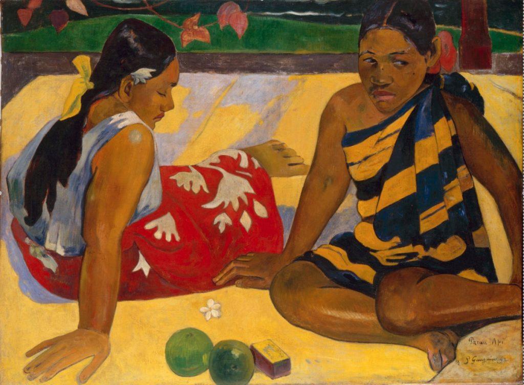 Parau api, ¿Qué hay de nuevo?- Paul Gauguin, 1892, Galerie Neue Meister, Staatliche Kunstsammlungen Dresden, Dresde. Alemania