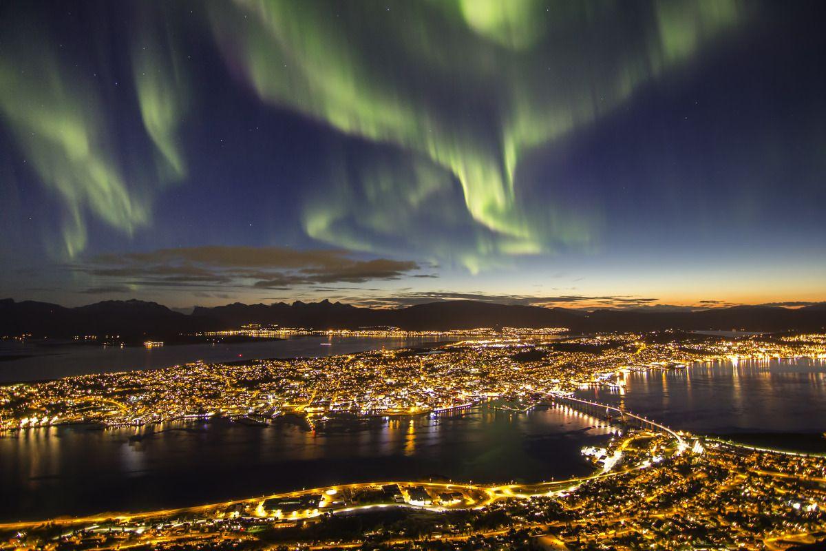 Aurora boreal desde Tromsø, Noruega