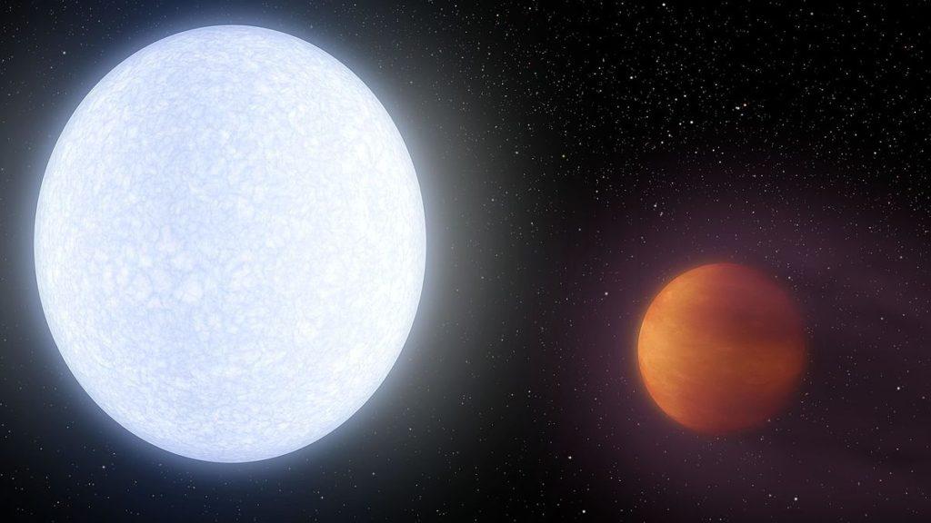 El exoplaneta Kelt-9b orbitando su estrella Kelt-9- NASA, JPL-Caltech