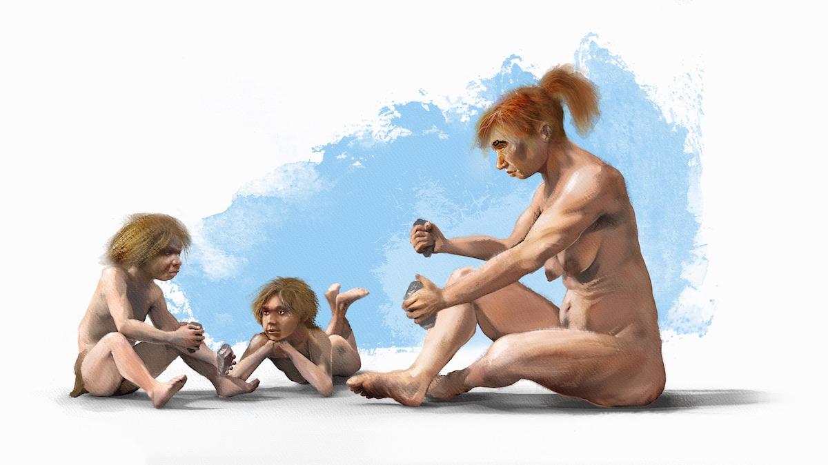 Mujer neandertal enseñando a los niños a tallar- J. A. Peñas, SINC