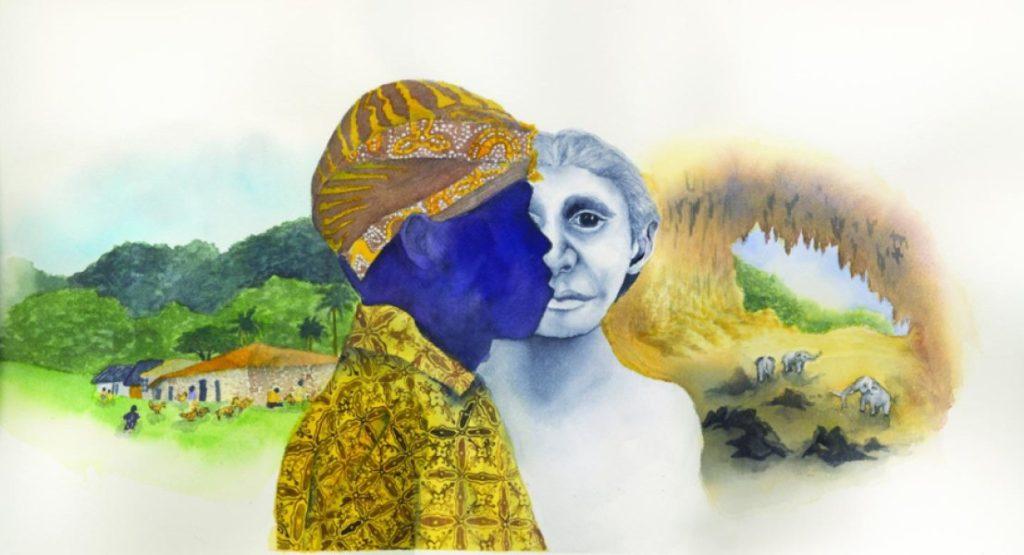Pigmeo moderno, un hobbit y elefantes pigmeos- Ilustración de Matilda Luk (Universidad de Princeton)