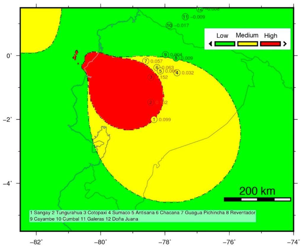 Mapa de volcanes ecuatorianos del Holoceno potencialmente activados por el terremoto de Pedernales del 16 de abril de 2016. La escala de color indica el nivel de activación potencial del volcán. / Béjar-Pizarro, et al., 2018
