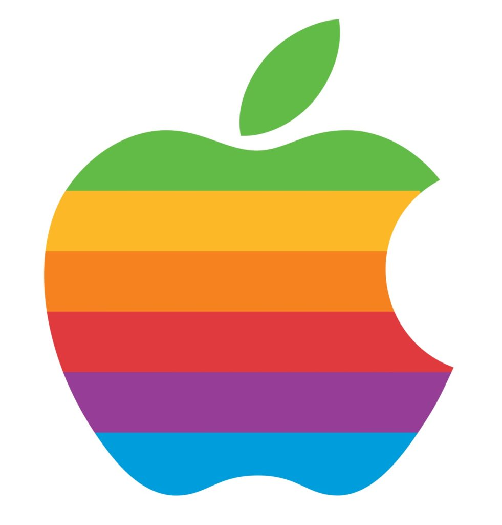Apple, el logotipo de la manzana del arcoiris